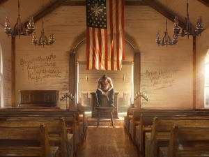 bench, interior, flag, Church, Far Cry 5