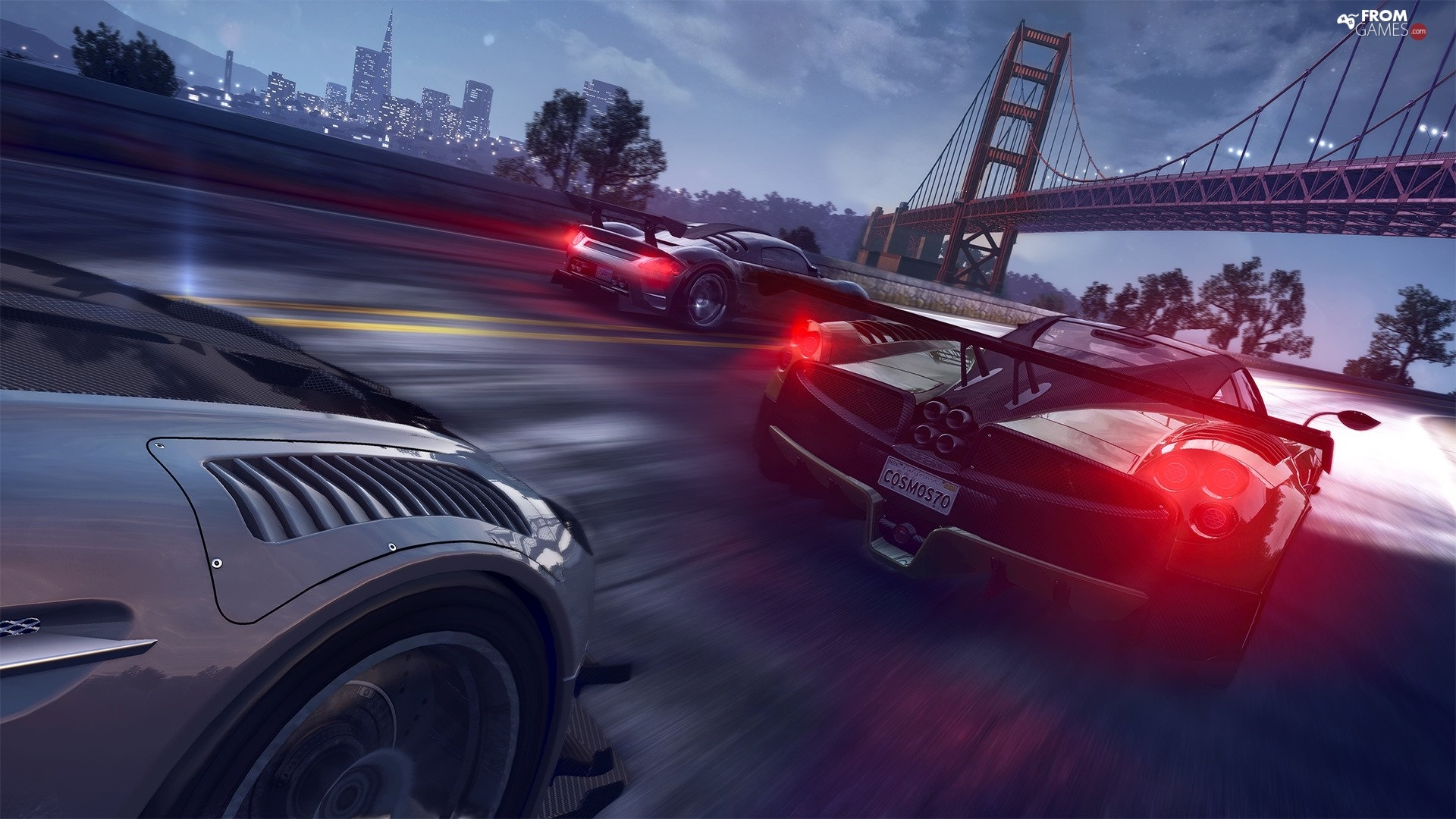 The Crew, race, bridge, cars