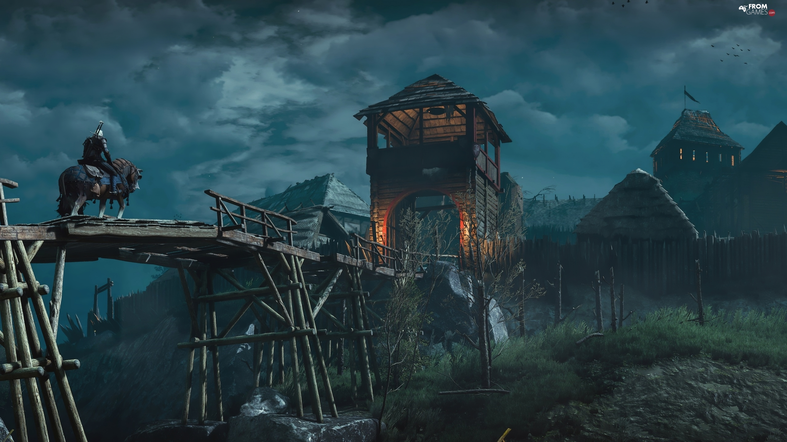Wooden, The Witcher 3 Wild Hunt, Geralt of Rivia, Horse, tower, bridge