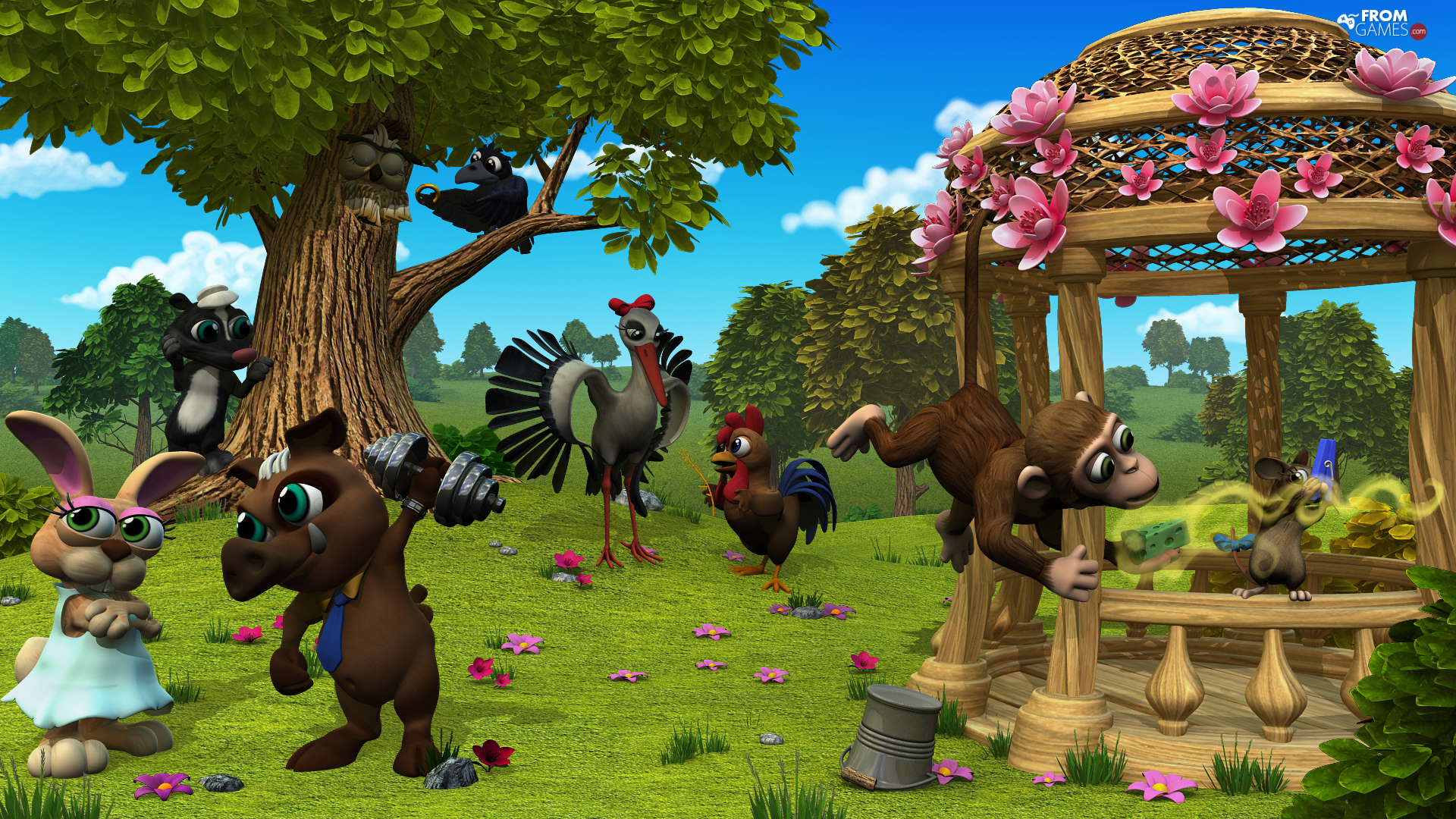 Rabbit, Farmerama, Bird, rooster, game, Monkey, trees