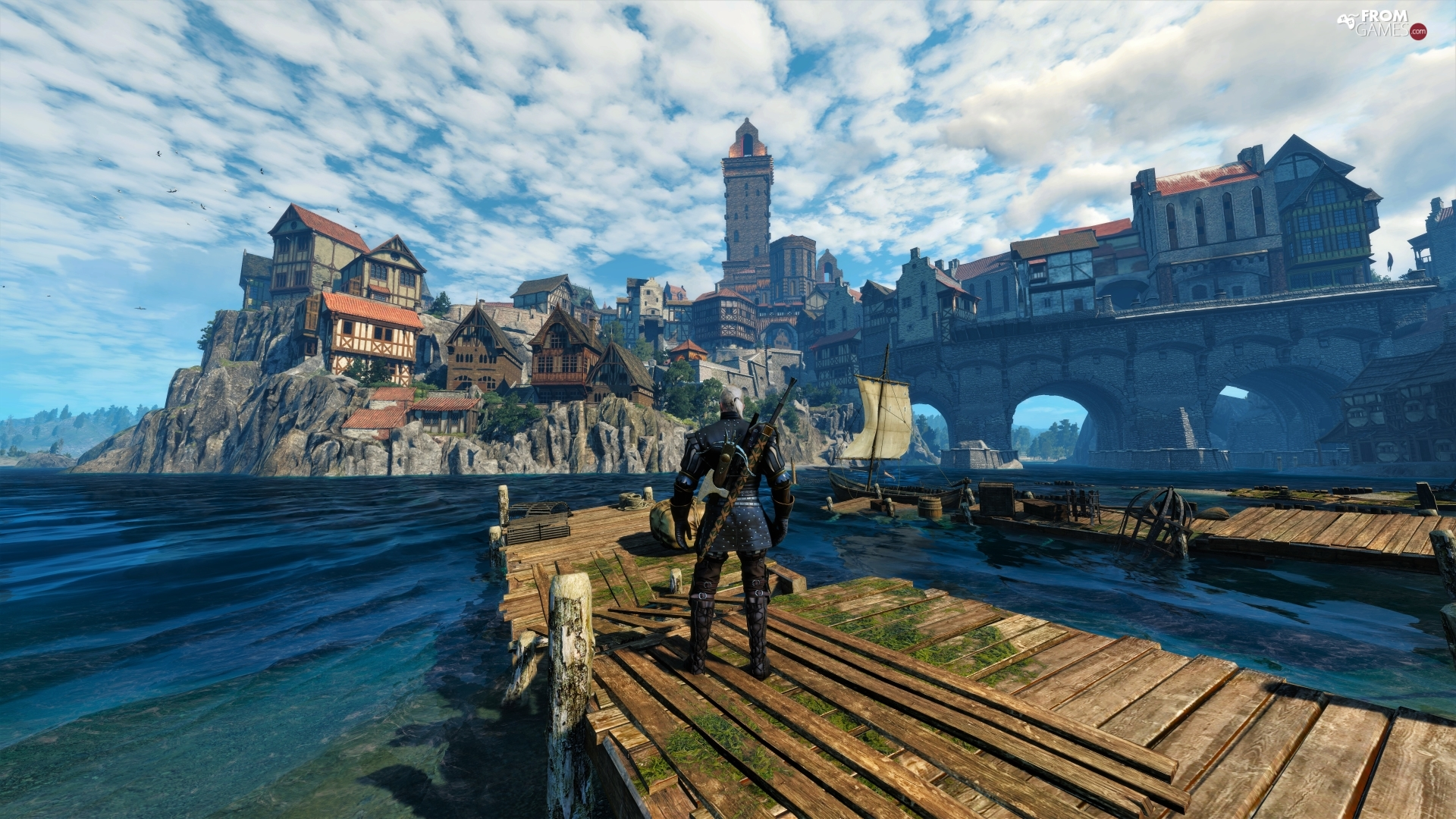 Geralt, The Witcher 3 Wild Hunt, Houses, The Witcher 3 Wild Hunt, game, Platform, Town