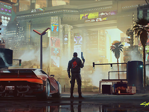 Automobile, Town, Cyberpunk 2077, Human, game