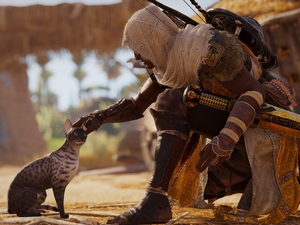 cat, Assassins Creed Origins, Bayek