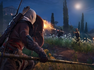 Bow, Fight, Assassins Creed Origins, Bayek, game