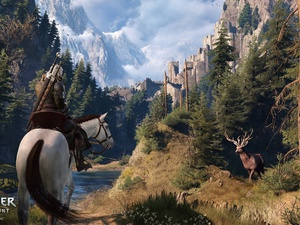 woods, The Witcher 3: Wild Hunt, fortress, Horse, game, deer, peaks