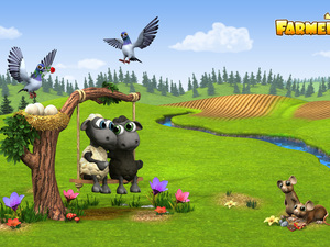 game, Farmerama, sheep, birds, nest, stream, Meadow, trees, mouse