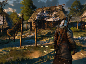 The Witcher 3 Wild Hunt, game, village, Houses, Geralt, The Witcher 3 Wild Hunt