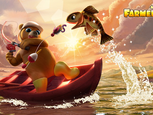 lake, Bear, fishing, Boat, fish, Farmerama, game, fishing rod