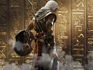 Shield, Assassins Creed Origins, wall, Bayek, game, Bow, Hieroglyphics