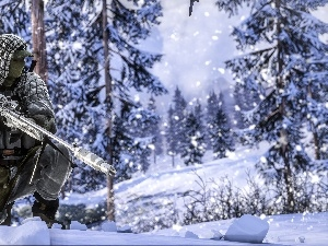 soldier, sniper, snow, trees, forest, Battlefield 4, game, winter