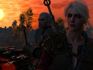 The Witcher 3 Wild Hunt, The Witcher 3 Wild Hunt, Geralt, Great Sunsets, Ciri