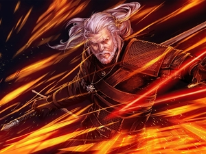 Geralt of Rivia, Big Fire, The Witcher 3 Wild Hunt, The Witcher 3 Wild Hunt, game